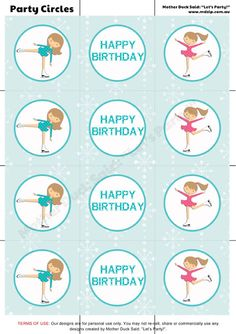 """Ice Skating Party Printable Party Circles /  Printable Cupcake Toppers  Mother Duck Said: """"Lets Party!"""": Ice Skating Party"""