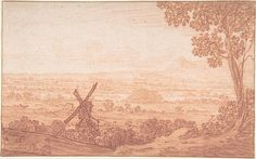 An Extensive Panoramic Landscape with a Windmill