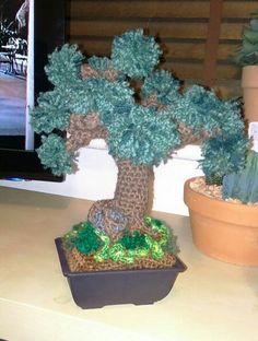 Crocheted bonsai tree. Made free hand, without a pattern, for a cousin who kills real bonsai trees