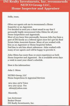 INI Realty Investments Inc., recommends NETCO Group, LLC for Home Inspections and Appraisals. Brought to you by INI REalty Investments, Inc., the first 100% Commission Real Estate Office in Jacksonville, FL. www.100RealEstateJax.com