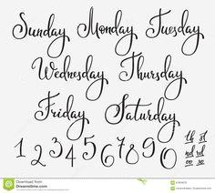 Vector Lettering Week Days Set Stock Illustration - Image: 67864878