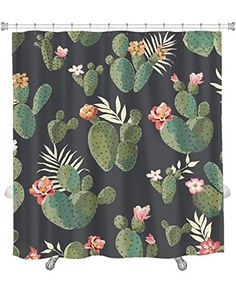 Gear New Shower Curtain, Image Of Cute Cactus Print Patte. Bathroom Colors, Bathroom Inspo, Bathroom Ideas, College House, Cactus Decor, Upstairs Bathrooms, Cactus Print, Modern Kids, Western Decor