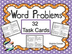 This set of 32 task cards will get your students solving real world word problems as they divide a 3 or 4 digit number by a 1 digit number. The task cards are in black and white for economical printing. Just print them on colored card stock and you will still have attractive task cards.