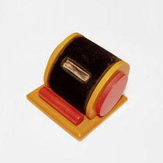 Bakelite Ring Box Geometric Ring Box, c. 1930 Red and Butterscotch Bakelite with Black Velvet Insert