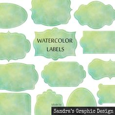 "Labels clip art: ""LABELS"" with 15 watercolor clipart 300 dpi PNG  files (937)"