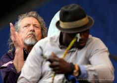 Robert Plant and Juldeh Camara performing in New Orleans Jazz Fest, April 26, 2014.