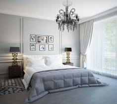 Delightful Master Bedroom Decor with Candle Bulb Chandelier Ideas White Bedroom Furniture, French Furniture, Bed Furniture, Master Bedroom Design, Modern Bedroom, Decoration Bedroom, Fashion Room, Bedroom Colors, Interior Design