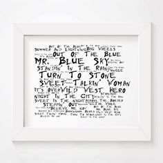 ELO Out Of The Blue limited edition typography lyrics art print, signed and numbered album wall art poster available from www.lissomeartstudio.com