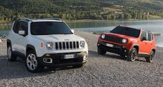 2015 Jeep Renegade Latitude in Alpine White and Jeep Renegade Trailhawk in Colorado Red