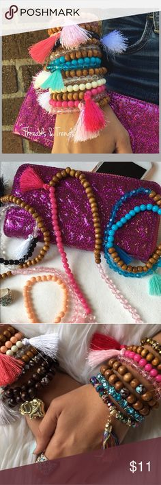 Wrap Bead Bracelets Colorful bracelets that also can be worn as necklaces. Tassel detailing on each bracelet/necklace to give it a boho vibe Threads & Trends Jewelry Bracelets