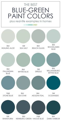 A collection of the best blue green paint colors. Includes info on how to pair them with other colors and shows each of the colors in a real-life space! Blue Green Paints, Green Paint Colors, Paint Colors For Home, Wall Colors, House Colors, Sage Green Paint, Green Wall Color, Best Paint Colors, Colors For Walls