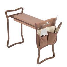 Garden Kneeler and Seat Folding Stainless Steel Garden Stool with Tool Bag EVA Kneeling Pad Gardening Gifts Supply - brown / United States