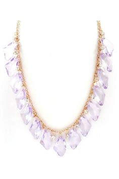 Bright Crystals Dangle Necklace - Lavender
