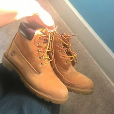 Timberland boots Great condition size 4 men 6 women's 100% authentic/ open to trades for black timbs, makeup , roshes, or crop  tops Timberland Shoes