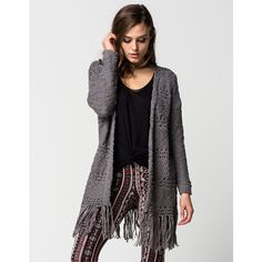 Full Tilt Essential Womens Fringe Cardigan ($30) ❤ liked on Polyvore featuring tops, cardigans, grey, boho style tops, tassel top, boho cardigan, bohemian style tops and long sleeve tops
