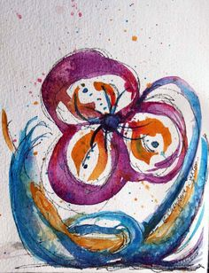 Purple  Orange Blue Peace Flower  Ink and by CheyAnneSexton