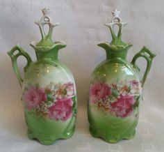 Pretty Victorian pair ceramic vanity bottles green & floral lotion oil & vinegar  | eBay