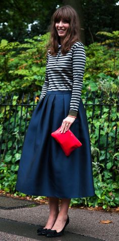 Fashion always has a place for a full skirt - be it a knee or calf skimmer. This Carven version is somehow both delicate and strong and there's no better accompaniment than a chic Breton stripe.