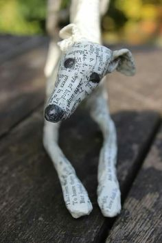 Lorraine Corrigan Paper Mache Sculpture, Dog Sculpture, Elderly Crafts, Creative Arts Therapy, Paper Mache Projects, Paper Mache Animals, Greyhound Art, Visual And Performing Arts, Decoupage Art