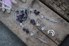 Amethyst And Angel Aura Crystal Healing Dreamcatcher Sweet Dreamz Moon Necklace Jewelry Crystal Healing Third Eye Healing Necklace Hand Made by CrystalJunkyz on Etsy https://www.etsy.com/listing/239422025/amethyst-and-angel-aura-crystal-healing