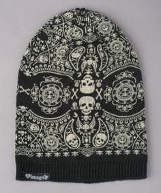 - LOUNGEFLY BLACK AND WHITE SKULL SLOUCHY BEANIE