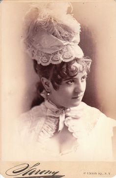 "Sarony photo of Vernona Jarbeau, probably as Cousin Hebe in an unauthorized American production of ""H. M. S, Pinafore,: circa 1879 (costume is nearly identical to her Hebe costume in the initial unauthorized American production at the Standard Theater in New York in 1879)."
