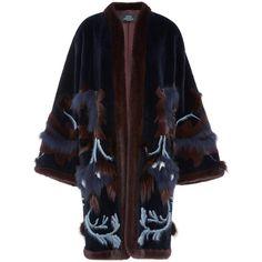 Alena Akhmadullina Longsleeve Mink Fur Coat ($14,615) ❤ liked on Polyvore featuring outerwear, coats, embroidered coat, blue fox coat, alena akhmadullina, collarless coat and blue mink coat