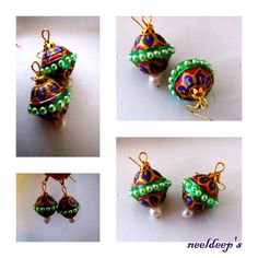 Lattoo shaped meenakari earings. for more : https://www.facebook.com/neeldeeprangoli