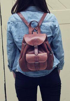 PAUL MARIUS Ledertasche kleine Rucksack knapsack Unitasche braun LE BAROUDEUR: #Handtaschen #Leder #Rucksack #Vintage #Damen