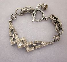 Repurposed Art Deco Rhinestone Bracelet - One of a Kind Designs from JryenDesigns