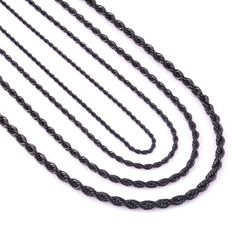 Never Fade Stainless Steel Black Rope Chain Necklace For Men and Women High Quality Waterproof Jewelry Wholesale