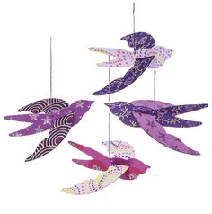 Swallows Origami Paper Bird Ornaments (4.5-Inch, Purple, Set of 4)