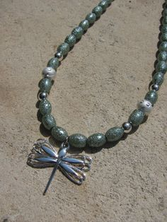 Sage Green and Silver Dragonfly necklace