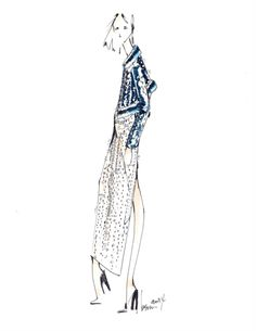 Fashion Sketch - fashion illustration; dress & jacket, fashion drawing // Brandon Sun