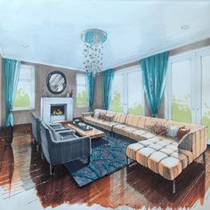 Lots of seating shown in this rendered perspective Plus