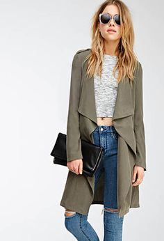 Draped-Lapel Trench Coat   FOREVER21   #theouterwearedit