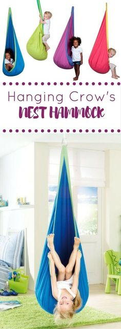 Awesome Kids Hammock + a great backyard idea + playroom + interior design + hanging chair + indoor swing + playroom ideas + great for a reading nook = Hanging Crow's Nest Hammock on for $125 @ LearningToys.ca. #kidsplayroom