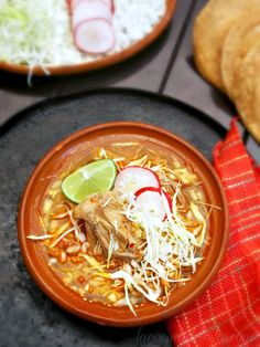 Traditional Mexican Pozole SINCE IT'S CHILLY TODAY FOR US (58)  HAVE A VERSION OF THIS SIMMERING IN THE SLOW COOKER.  CAN'T WAIT!