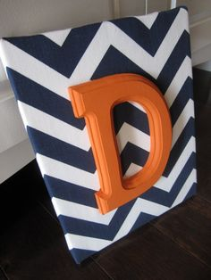 Wall Canvas Letters, Nursery Decor, Nursery Letters, Wooden Letters, Personalized, Nursery Art, Navy Blue and White Chevron