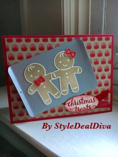 Gingerbread Christmas Cookie Treats Card by StyleDealDiva on Etsy made using Stampin' Up! Cookie Cutter Christmas, Candy Cane Lane and other elements from the 2016 Holiday Catalog.