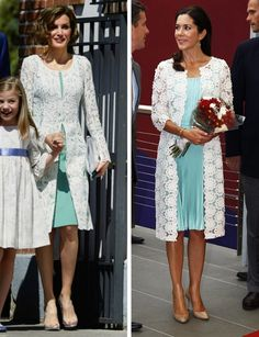 royalroaster:  Dress and White Lace Coat-Queen Letizia, 2015; Crown Princess Mary, 2013
