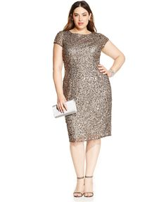Adrianna Papell Plus Size Sequined Scoop-Back Dress - Dresses - Plus Sizes - Macy's