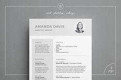 Resume/CV | Amanda - Resume template - Our design, 'Amanda', contains a professional two page design with matching cover letter and lots of room for experience. Everything is editable including fonts and colors so be sure to personalize to suit your needs. Move and duplicate elements and make the design your own!