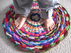 Woven Rug (or: What to do with all that finger knitting) : Finger Knitting wove. : Woven Rug (or: What to do with all that finger knitting) : Finger Knitting woven rug Arm Knitting, Knitting For Kids, Knitting Patterns, Scarf Patterns, Knitting Club, Weaving Projects, Crochet Projects, Yarn Crafts, Sewing Crafts
