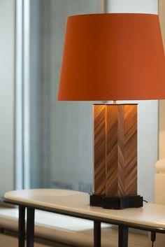 Nicolas Aubagnac is an interior designer who also creates contemporary furniture and lighting. Desk Lamp, Table Lamp, Light Fittings, Contemporary Furniture, Interior Design, Lighting Ideas, Wood, Lamps, House