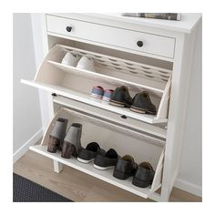 HEMNES Shoe cabinet with 2 compartments, black-brown, A place to organize and store all your shoes, making life on the go a little easier. The simple, classical design with a touch of tradition looks great with other furniture in the HEMNES series. Shoe Storage Pvc Pipe, Shoe Cubby, Diy Shoe Rack, Shoe Racks, Diy Shoe Organizer, Wall Shoe Rack, Ikea Hemnes Shoe Cabinet, Shoe Cabinet Entryway, Cabinet Furniture