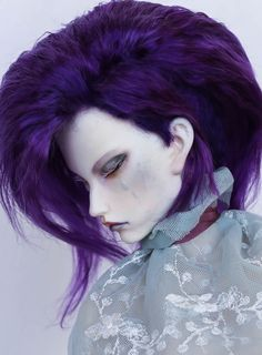 https://flic.kr/p/wm6jeo | commission wig | Angora mohair elastic cup violet color different hairstyles in one wig