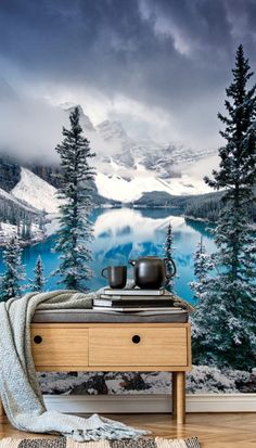 Feel the crispness in the air in this wonderful Morning Blues wall mural. The reviving blues of the lake contrasted against the steely-grey snow-covered mountainsides is striking. Whether you're looking for semi-permanent decoration or live in a rented home, here are some ideas on how you can adorn your walls with removable stick and peel wallpaper. Get inspired today and click to visit the website! #wallsauce #homedecor #bedroominspo #wallpaper Panoramic Photography, What's Your Style, Landscape Wallpaper, Room Wallpaper, Semi Permanent, Blue Walls, Lake View, Wall Ideas, Designer Wallpaper