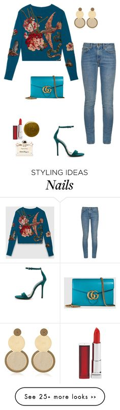 """Untitled #1451"" by sid9087 on Polyvore featuring Gucci, Yves Saint Laurent, Michael Kors, Maybelline, Burberry, Salvatore Ferragamo and Jení"