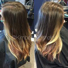 Copper red and blonde balayage. #hairbykimberlyboshold